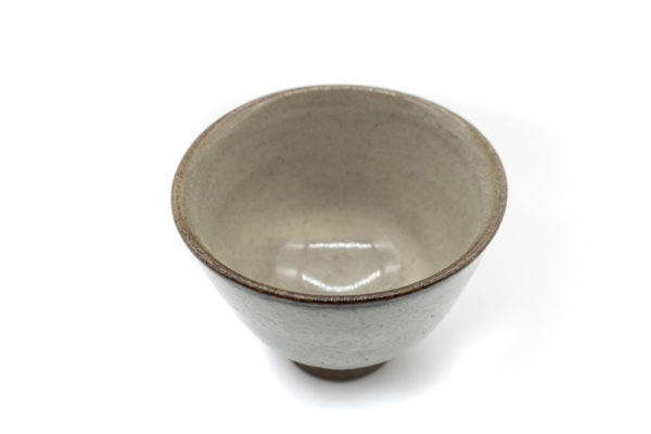 A picture of the inside of a small and delicate grey handmade cup for drinking gyokuro green tea, made in Koishiwara, Fukuoka, Japan by Onimaru the Second